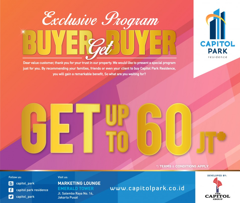 Capitol park residence salemba jakarta pusat - Buyer Get Buyer - Sept 2018