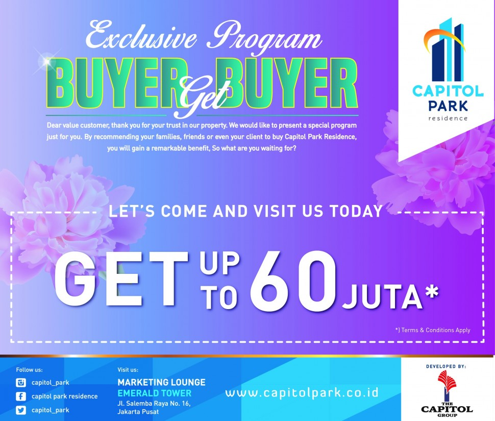 Capitol park residence salemba jakarta pusat - EXCLUSIVE PROGRAM - BUYER GET BUYER APRIL