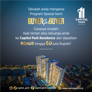 Capitol park residence terjangkau siap huni - Buyer Get Buyer - Oct 2019