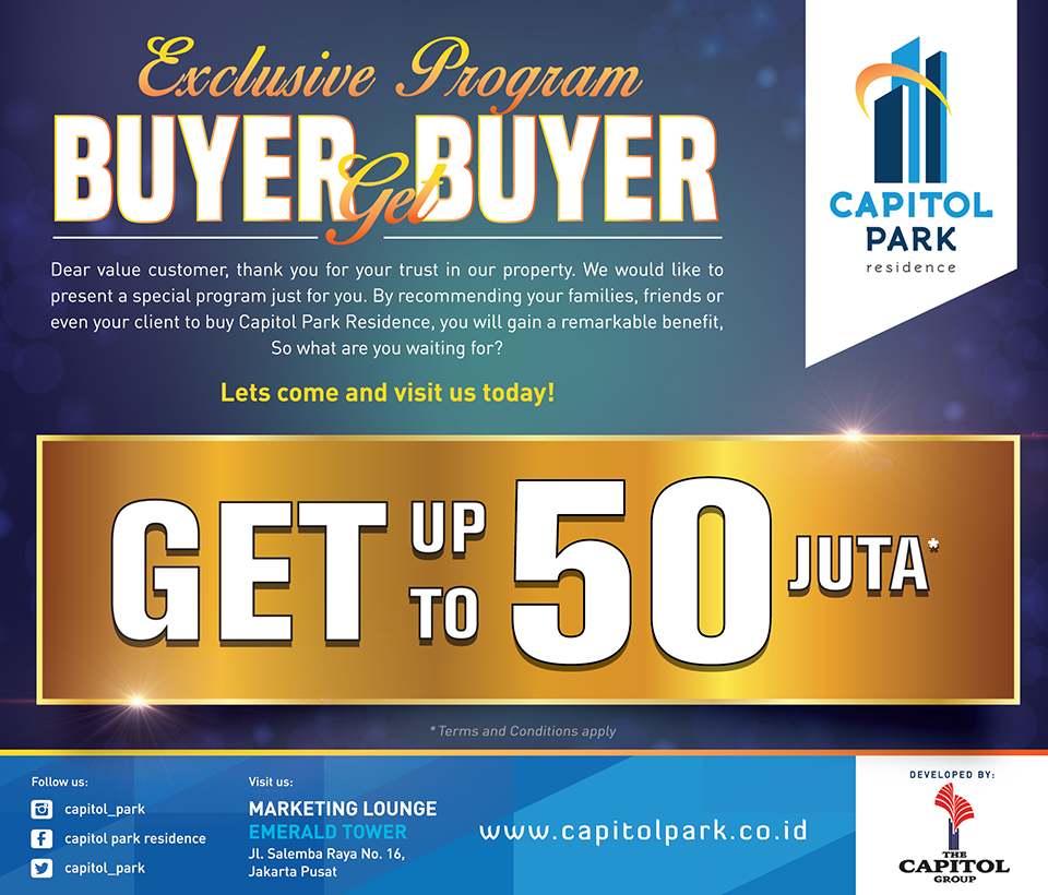 Capitol park residence salemba jakarta pusat - Exclusive Program - Buyer Get Buyer January