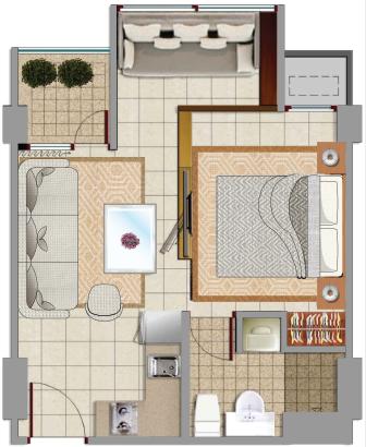 Sewa apartemen Denah Saphire Tower